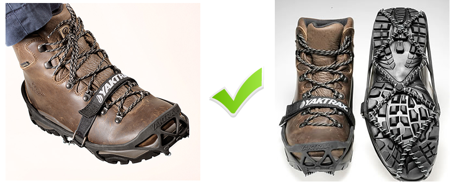 Wearing Yaktrax® Pro on boots fitted correctly